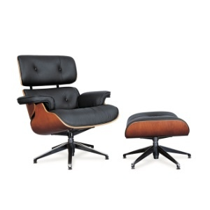 Eames Lounger and Footstool Black