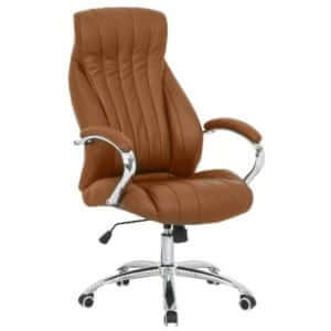 Capri-Executive-Leather-High-Back-Chair-Camel Little Lots › Office Furniture Discount Store