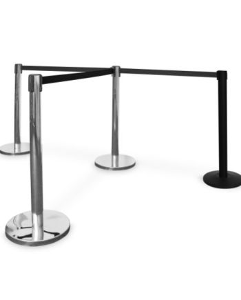 Queue Stands Chrome with Black belt combo