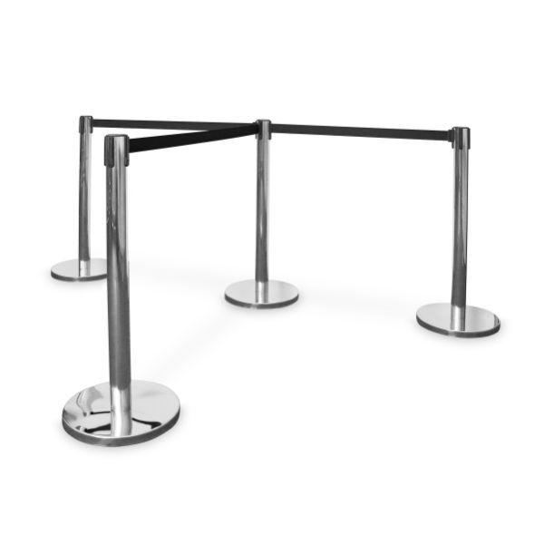 Queue Stands Chrome with Black belt
