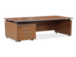 Desk Shell With Plastic Raisers Mahogany