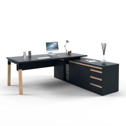 Crestwood Executive Desk – Glass Top | Melamine Top Black Edition