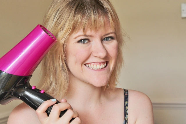 Little Miss Katy with pink hairdryer