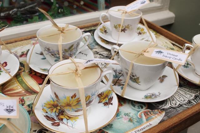 York vintage teacup candles