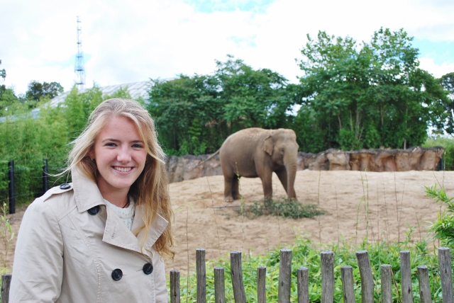 Ches and an elephant at Dublin zoo
