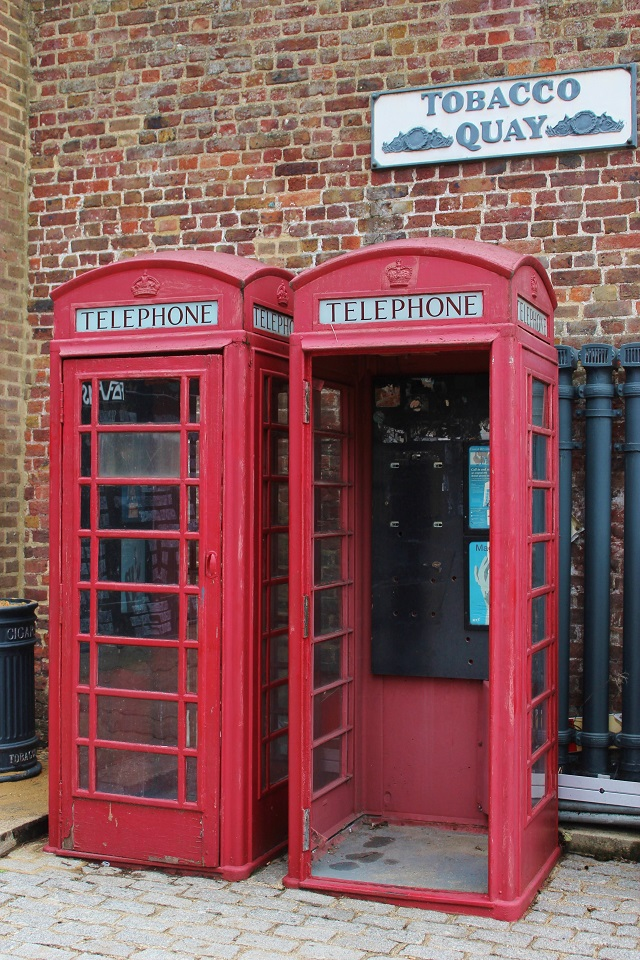 Tobacco Quay red telephone boxes