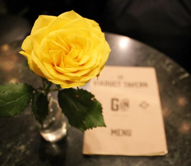 Yellow rose and gin menu