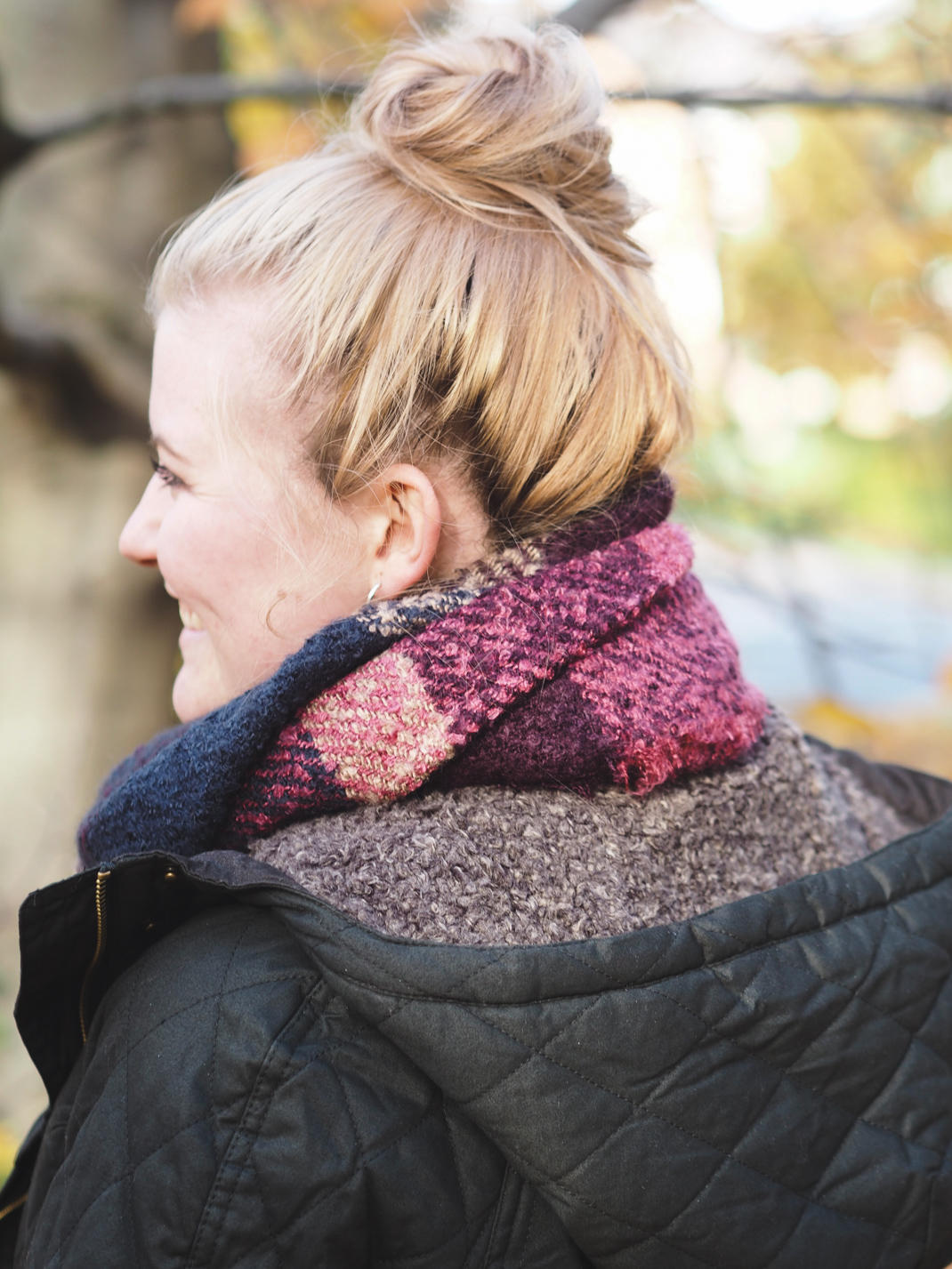 Fatface boucle pink scarf