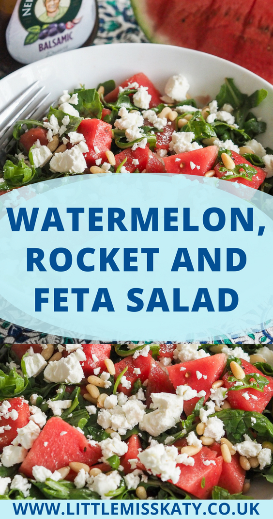 A sweet and tangy summer salad made with fresh watermelon, salty feta cheese and sharp rocket (arugula) leaves. Finish it with a drizzle of balsamic dressing and a sprinkling of pine nuts.
