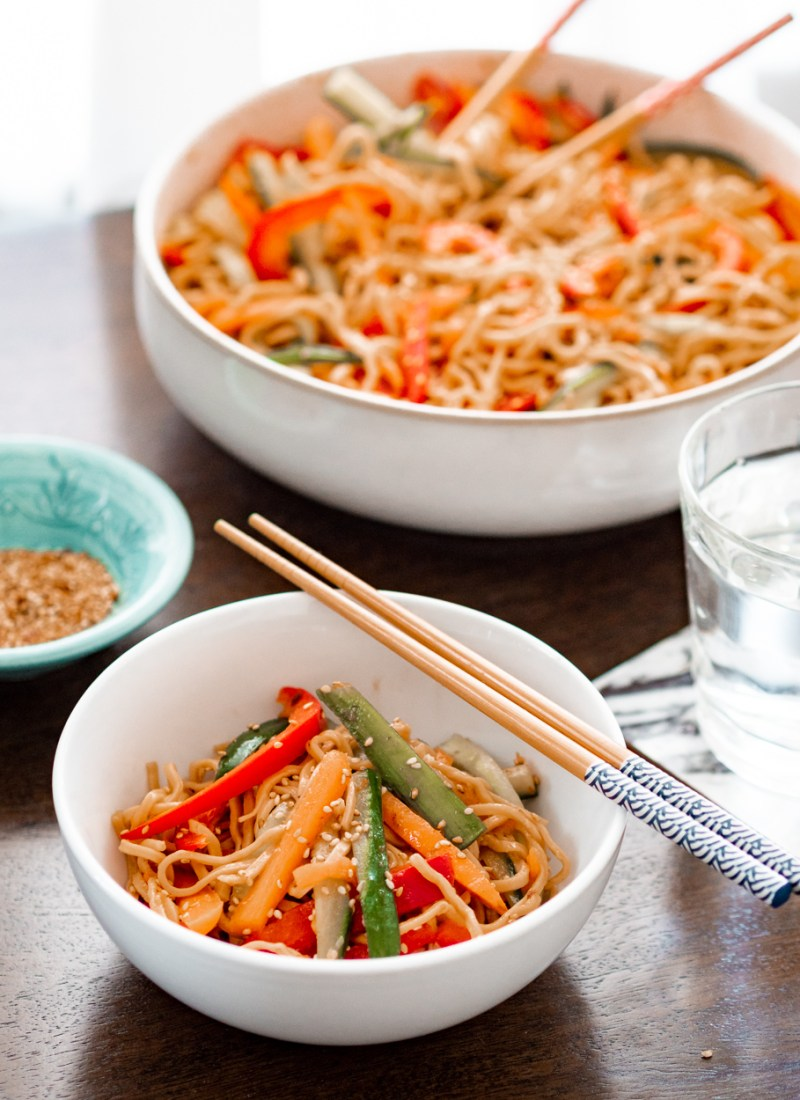 Cold Noodle Salad with a Zingy Asian Dressing