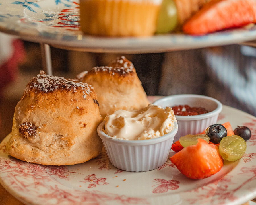scones and clotted cream with jam