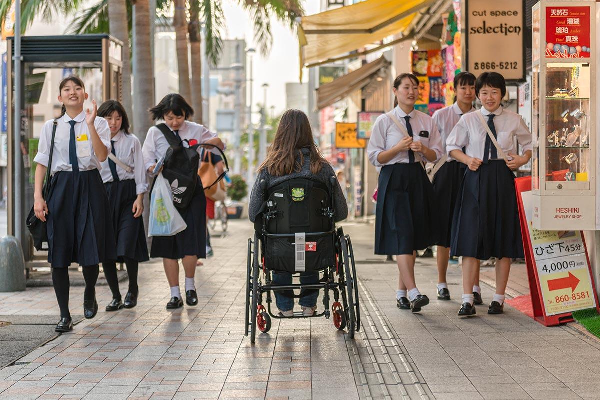 Wheelchair-accessible Kokusai Dori in Naha