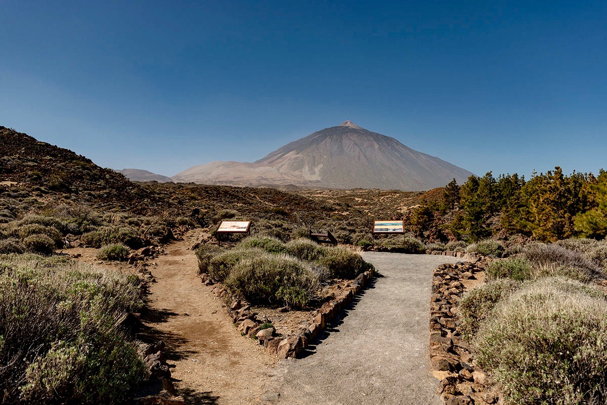 View of Teide Mountain from accessible path El Portillo Visitor Center
