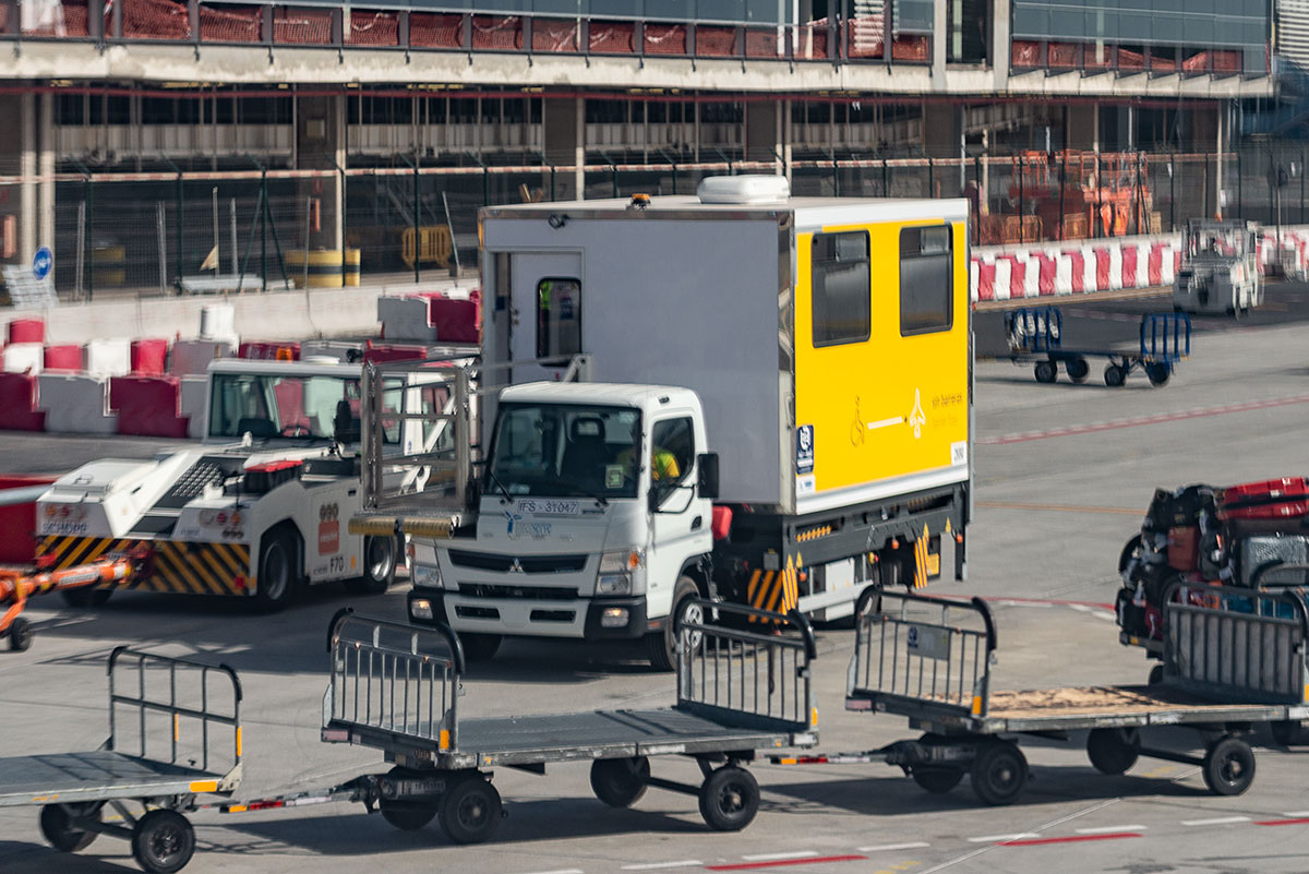 Wheelchair assistance truck at Tenerife Sur Airport