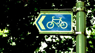 Bike path sign.