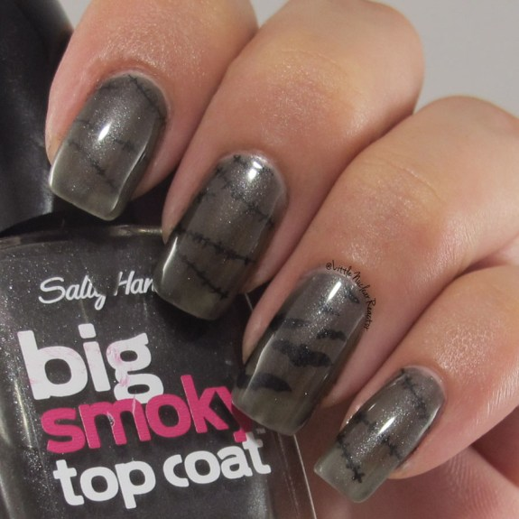 Sheer Halloween nail art manicure using Sally Hansen Big Smokey top coat