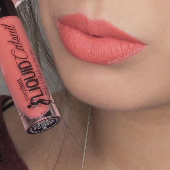 Megalast Liquid Catsuit lipstick in Coral Corruption lip swatch