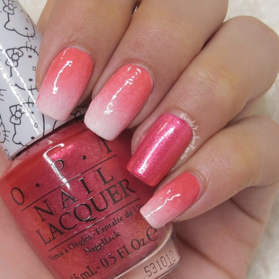 Ombre nails: Alpine Snow,OPISmall+Cute=<3, andOPISpoken from the Heart