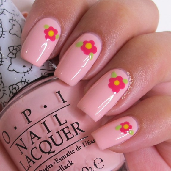 Pink Floral Nail Art featuring OPI's Small+Cute=<3