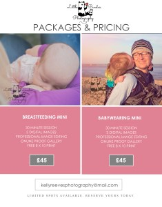 Breastfeeding and babywearing photography price guide