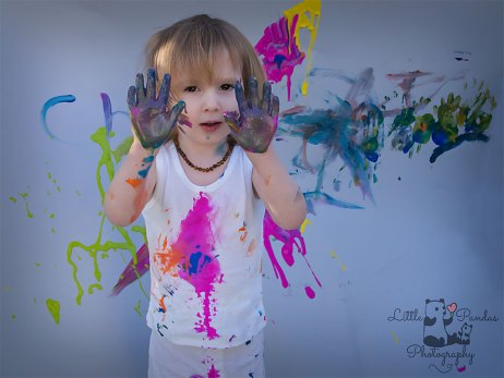 Birthday photography Kent Paint splash boy with paint on his hands