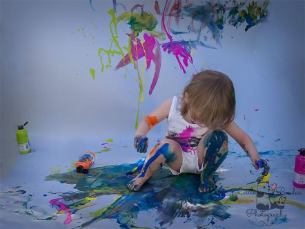 Birthday photography Kent Paint splash boy sitting in paint