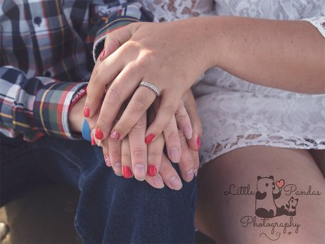 Engagment close up of couples hands