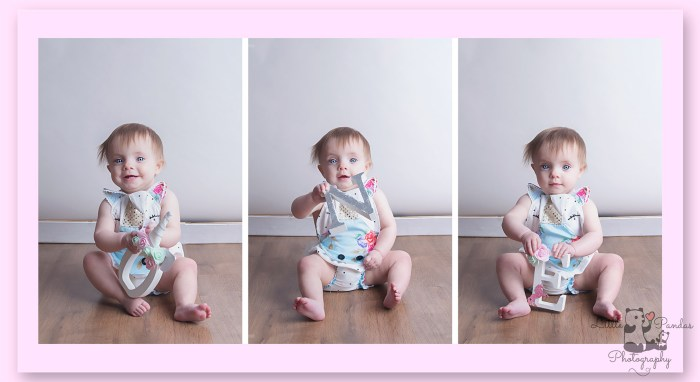 Triptych of little girl spelling out O-N-E