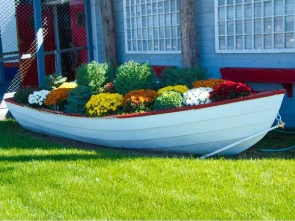 boat planter outdoor