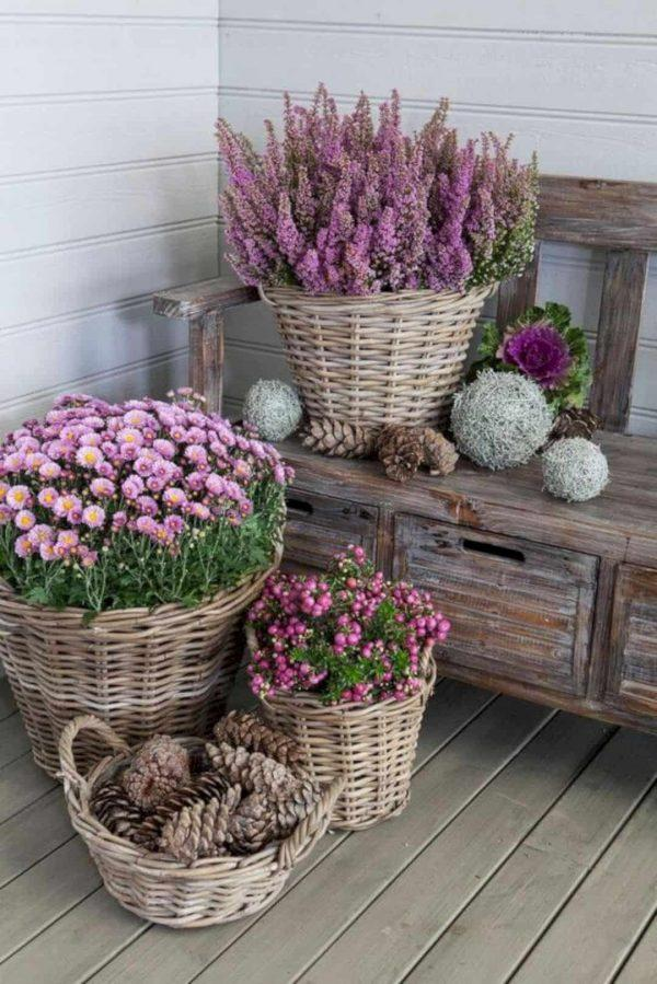 Wicker basket flower pots