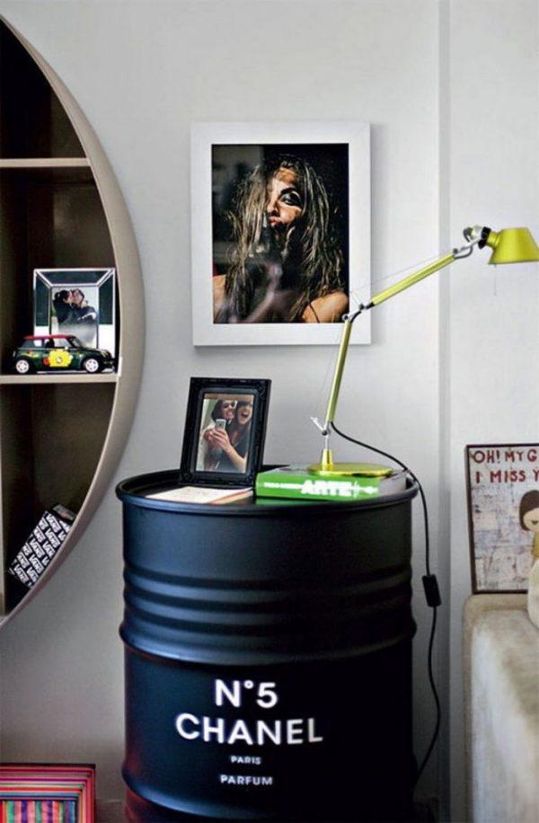 oil drum bedside table