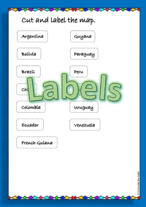 Labels for South America map labeling product