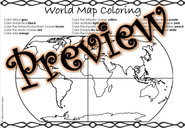Continents and Oceans World Map Coloring thumbnail 2