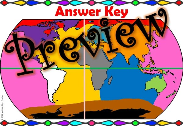 Continents and Oceans World Map Coloring answer key