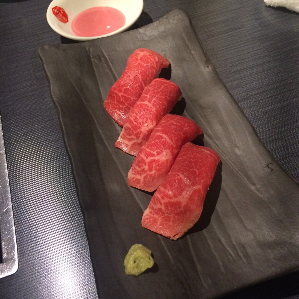 Beef sushi! Raw beef + rice. I'm not a fan of this, but my boyfriend is completely addicted to it! If you haven't tried it, you should just for the experience of it!