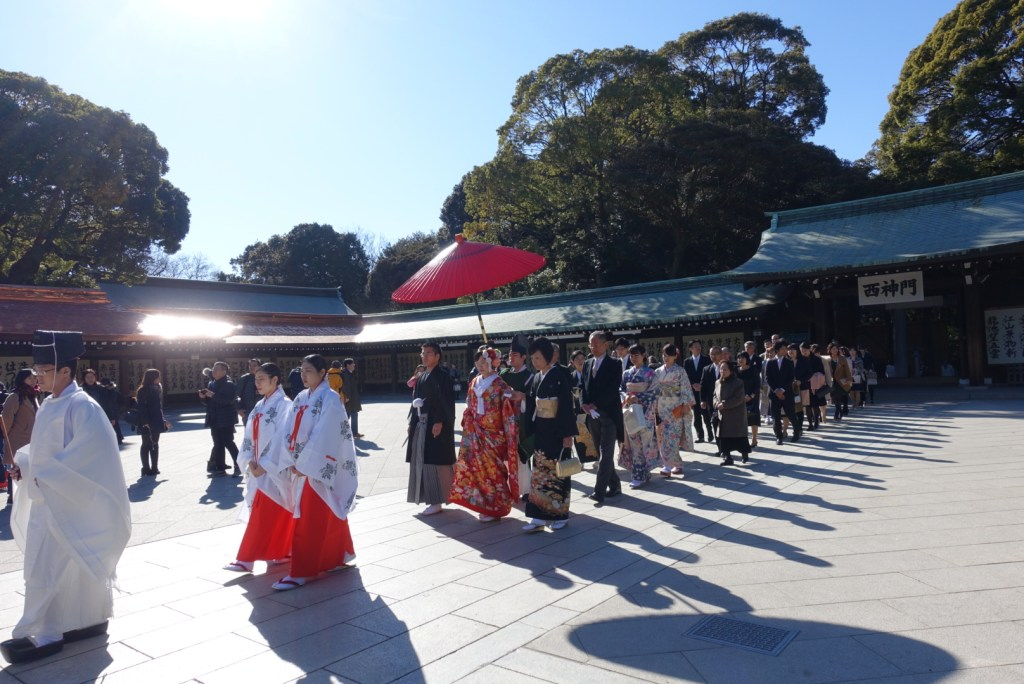 Ah, we got lucky! A Japanese wedding in procession!
