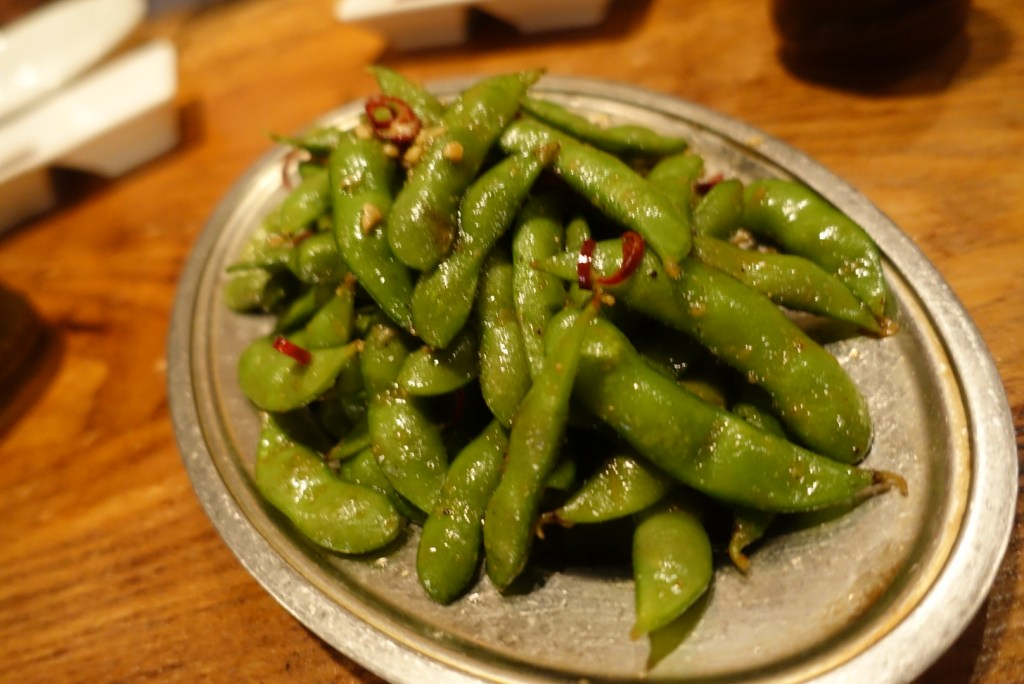 Spicy edamame! Now this was fun and had a real kick to it!