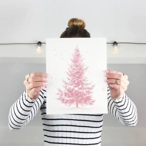 Kerstboom poster in het roze