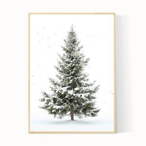 Kerstboom poster in het groen met sterren en sneeuw. Oh denneboom!