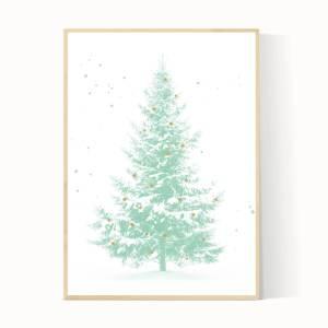 Kerstboom poster in de kleur mint groen