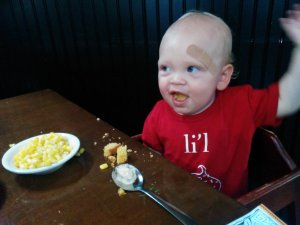 Gabe showing off his table manners.