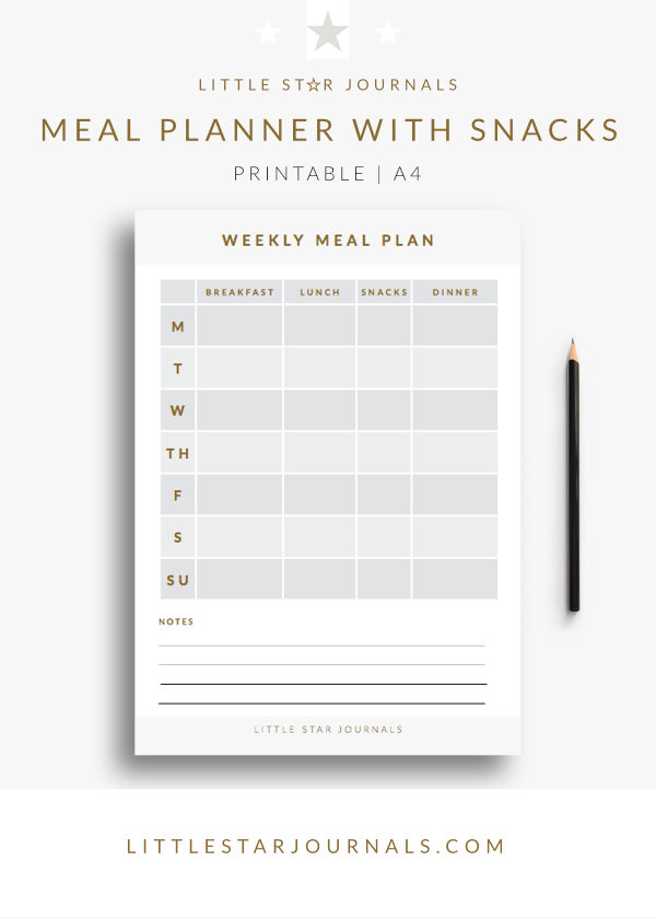 photograph relating to Meal Planner Free Printable named Free of charge Printable Supper Planner with Treats - A4 PDF down load