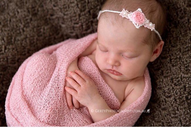 pink and grey newborn girl photos