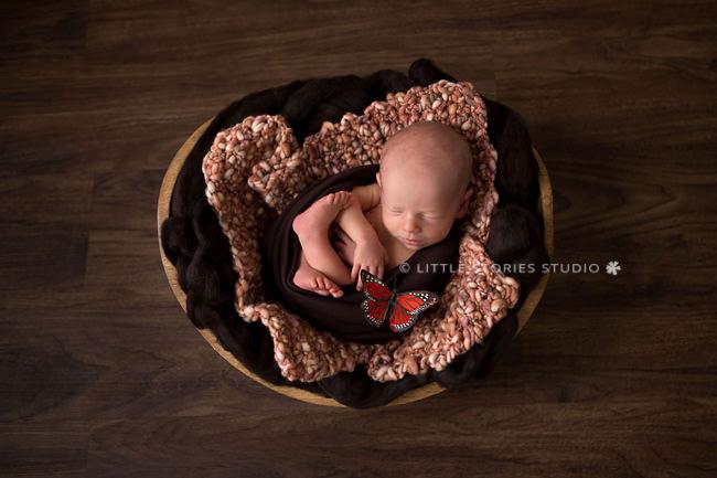 orange and brown newborn photos