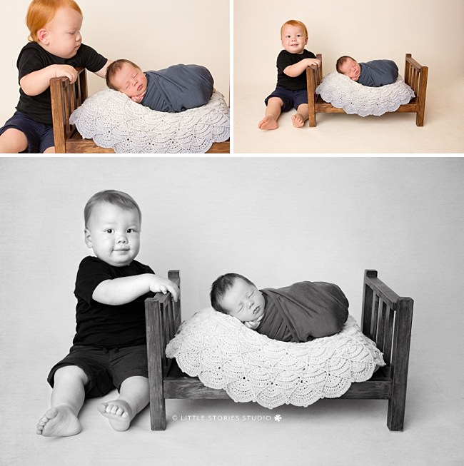 sibling newborn photos 18 month old and baby boy