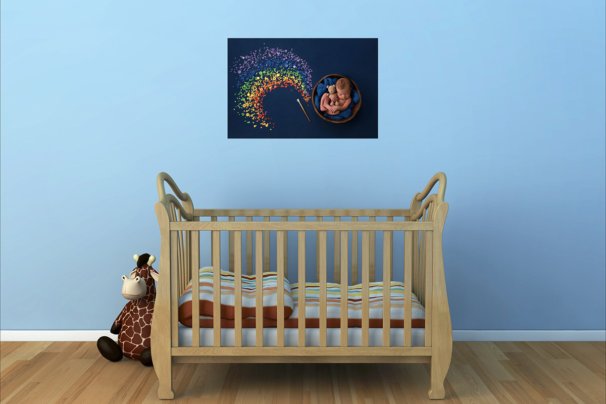 nursery rainbow newborn portrait