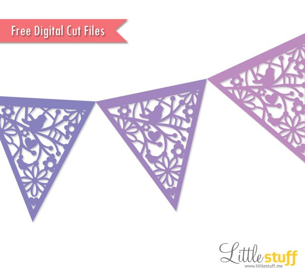 Free Pennant Bunting Banner Digital Cut File, SVG and Silhouette Studio