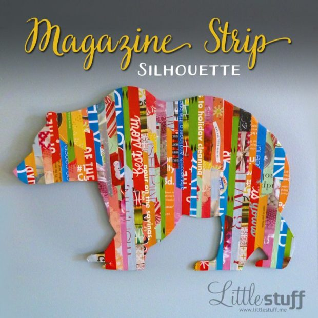 Magazine strip silhouette of grizzly bear: Easy DIY Wall Art. www.littlestuff.me
