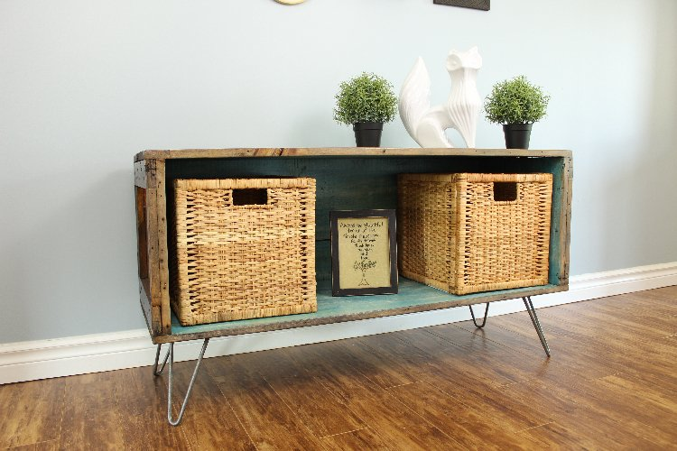 wooden shipping crate becomes console
