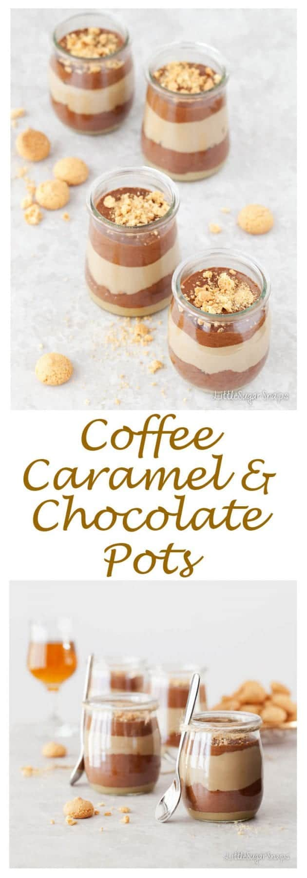 Triple Layer Coffee Caramel Chocolate Pots blends creamy coffee custard with luscious caramel, light chocolate mousse & crushed Amaretti. Irresistible.